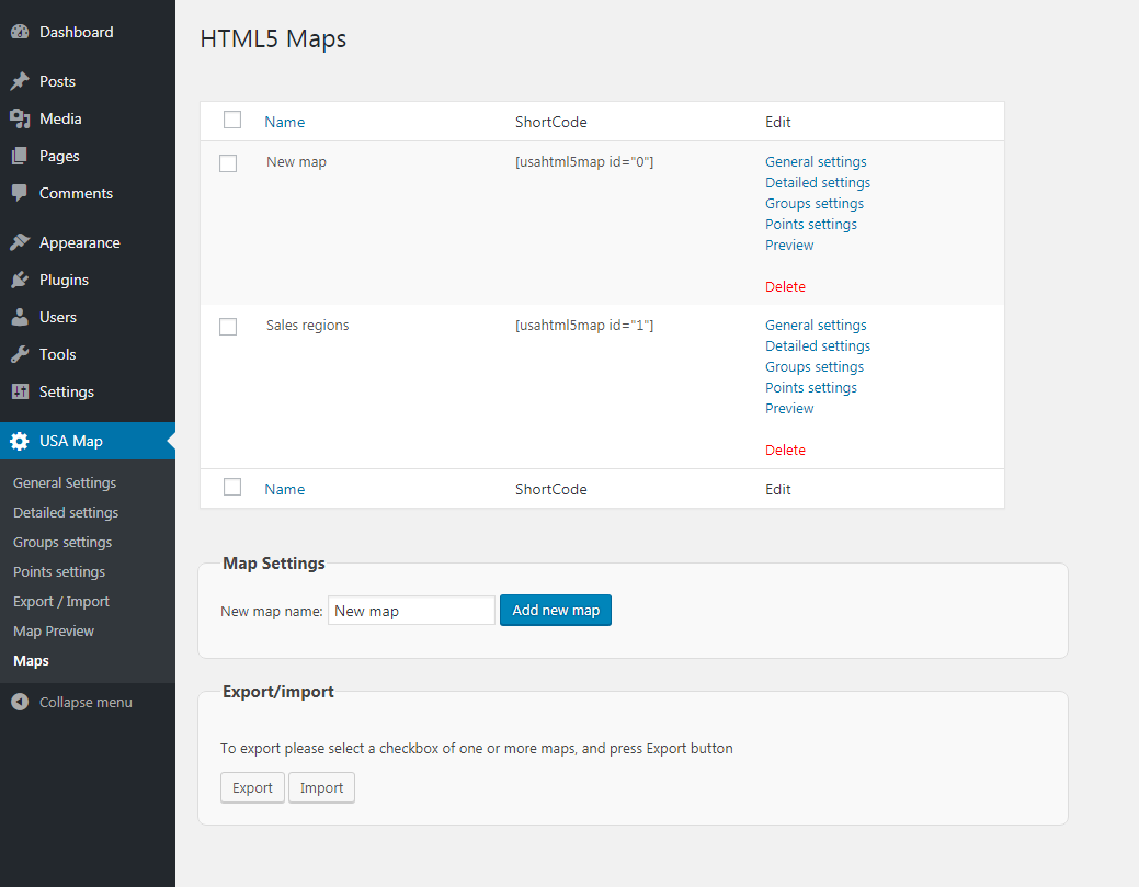 Maps page in the plugin