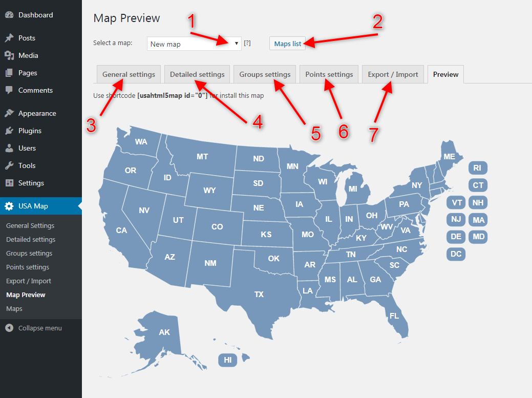 Tab map preview
