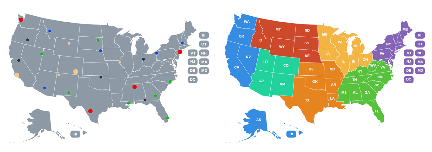 Interactive map of the USA
