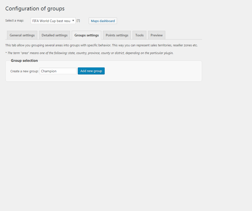 Create a group in the plugin