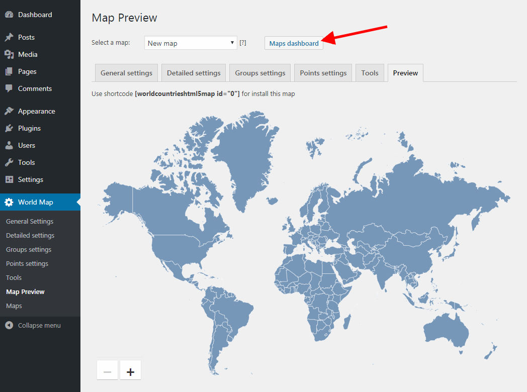 World map with localized country names for wordpress unzip the downloaded zip file now we simply need to import settings from the json file to the plugin click the maps dashboard button to open the gumiabroncs Gallery