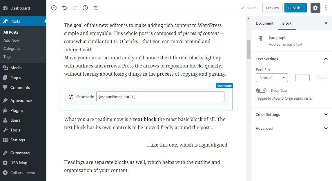 Shortcode module in Gutenberg
