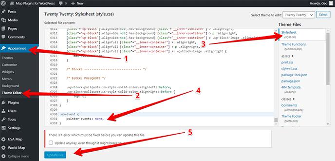 Editing CSS file through WordPress editor