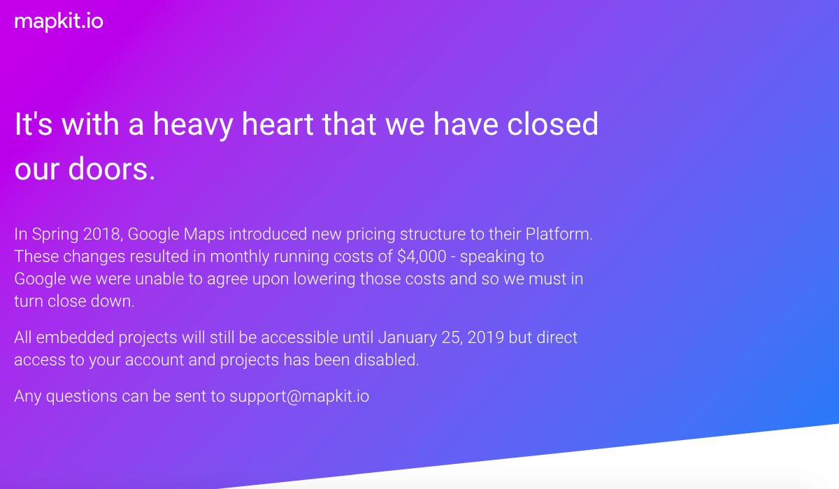 MapKit.io Website Closing due to costly Google Maps API