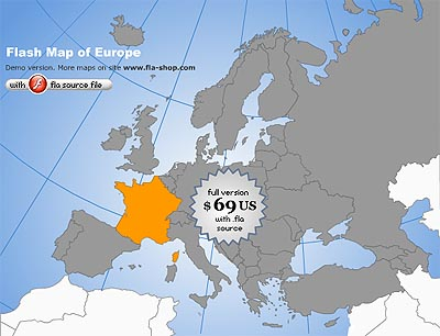 Europe Flash map Silver (with FLA source) 1.0