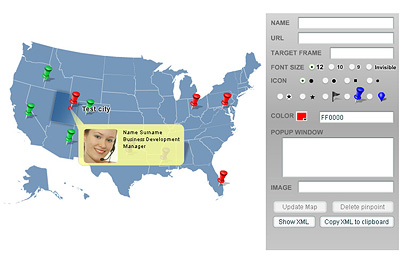 Pinpoint Locator Map of USA