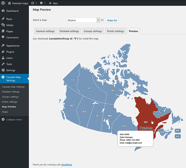 Canada Interactive HTML Map For WordPress - Interactive us map plugin wordpress