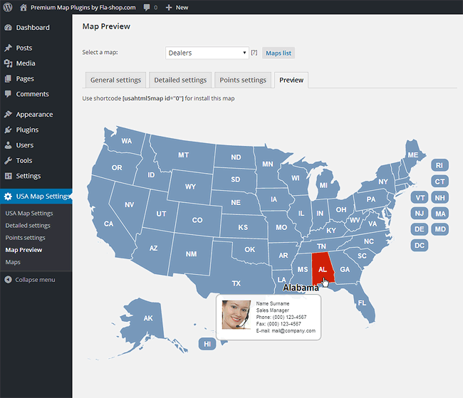 US Interactive HTML Map For WordPress - Html us map