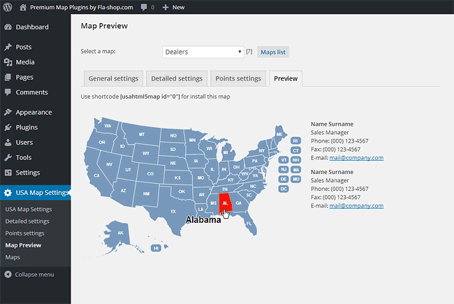 US Interactive HTML5 Map for WordPress